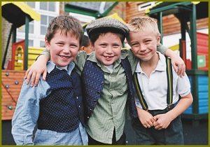 3 boys dressed as Edwardians