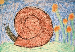 snail drawing in crayon
